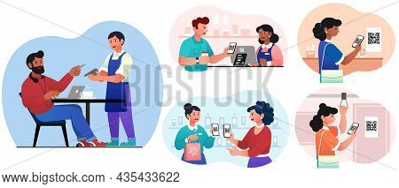 Cashless Payment System Set. Collection Of Images On Which People Pay With Cards. Modern Technology,