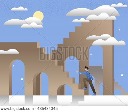 Man Walking Up Stairs. Concept Of Personal Growth, Selfimprovement, Selfdevelopment. Persistence And