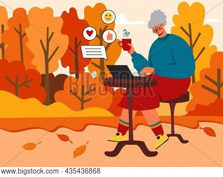 A Sweet Grandmother Is Sitting In The Park With A Laptop, An Elderly Woman Is Chatting On Social Net
