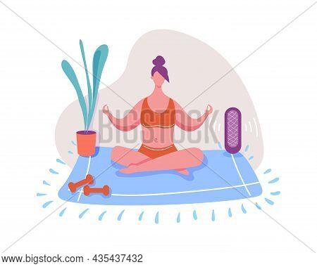 Woman Doing Yoga At Home, Calm Meditation. Vector Illustration Of Yoga Meditation, Woman Exercise Li