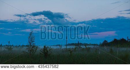 Mist Over Swamp. Nature Background. Morning Sunrise. Beautiful Summer Foggy Landscape. Dusk Over Mar