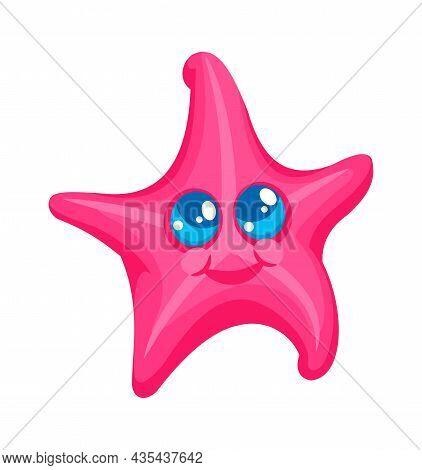 Starfish Character Marine, Cartoon Tropical Aquatic Animal. Cartoon Character Starfish, Marine Ocean