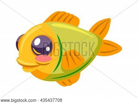 Fish Clown Colored For Game Interface Isolated. Anemone Animal For Aquarium, Color Fish Marine, Ocea