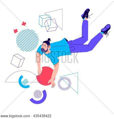 Creative Image Of Business Process With Man Flying Among Abstract Shapes. Creativity And Efficiency