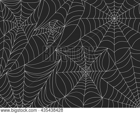 Halloween Spider Web Background, Scary Cobweb Decoration Elements. Spooky Spider Webs Silhouette, Ho