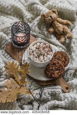 Autumn Cozy Home Still Life - Hot Chocolate With Marshmallow, Chocolate Drops Cookies,  Oak Leaves B