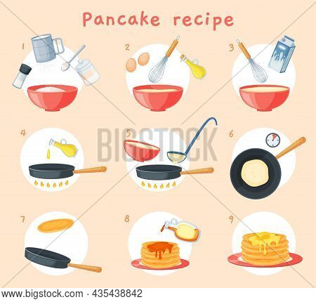 Pancake Recipe, Breakfast Dish Preparation Buttermilk Pancakes. Delicious Fluffy Pancake Step By Ste
