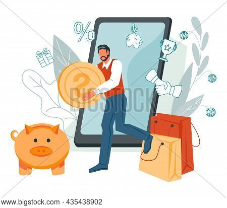 Online Electronic Commerce And Online Banking, Money Transaction And Saving Financial Online Service