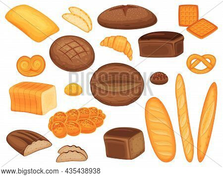 Cartoon Bread, Baguette, Buns, Pastry And Bakery Products. Fresh Loaf Of Whole Grain Bread, Croissan