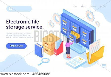 File Storage Concept. Girl Works In Archive. Analysis Of Statistics, Information Storage. Servers, C