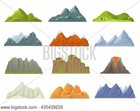 Cartoon Rocky Mountain Top, Snowy Peak, Stone Cliff. Mountains Ridges In Various Shapes, Volcano, Ca