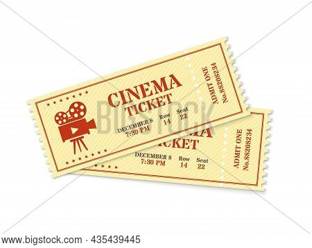 Two Cinema Tickets, Realistic Movie Ticket Mockup. Old Vintage Movies Show Entrance Pass, Film Festi