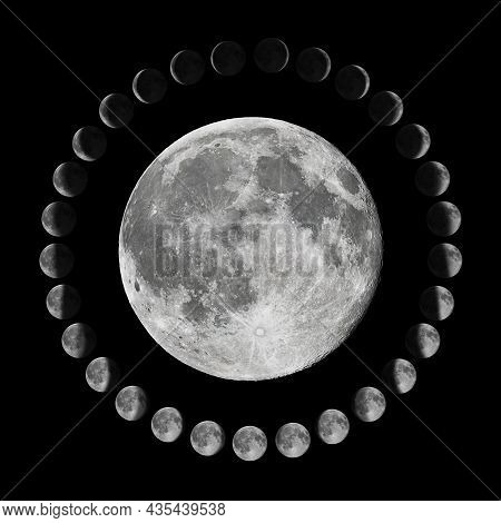 Phases Of The Moon.lunar Cycle. Moon Phases
