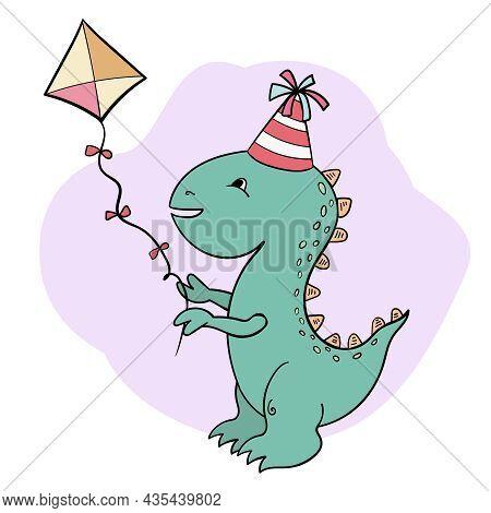 Dinosaur And Kite, Vector Illustration Cartoon Style