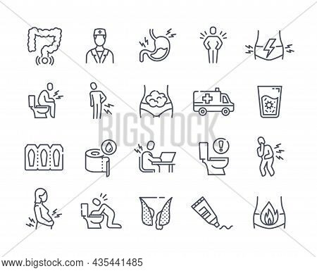 Minimalistic Medical Icons. Collection Of Linear Stickers With Hemorrhoids, Diarrhea, Nausea, Abdomi