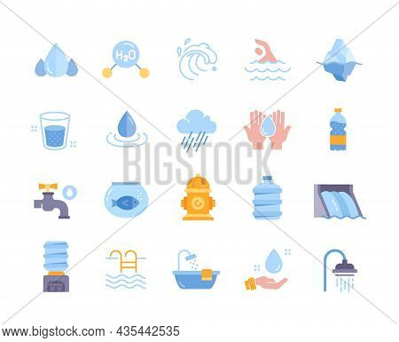 Water Related Icons. Collection Of Colorful Stickers With Water Molecule, Hydrant, Drops, Iceberg An