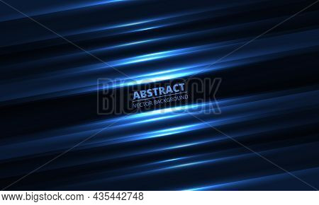 Dark Blue Geometric Background With Glowing Light Diagonal Lines And Shadows For Presentation Design