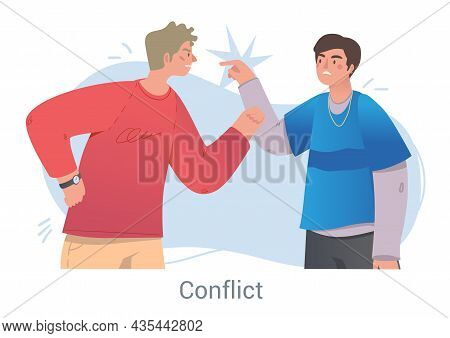 Angry Men Arguing And Conflicting. Characters Scream, Swear And Quarrel. Friends Can Not Find Compro