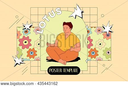 Lotus Pose Banner Template With Plump Lady Illustration. Comic Style Vector Design. Body Positive Co