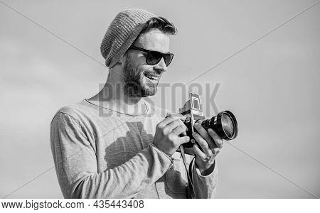 Altering Life By Holding It Still. Capture Adventure. Journalist. Sexy Man Touristic Reporter. Photo