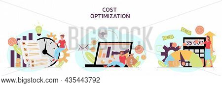 Cost Optimization Concept. Characters Pay Bills, Make Savings And Count Income. Managing Family Budg