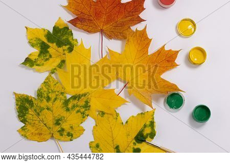 Autumn Leaves And A Brush With Paints. Paint Maple Leaves. Autumn Concept.