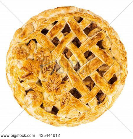 Apple Pie Isolated On White Background. Clipping Path. Top View