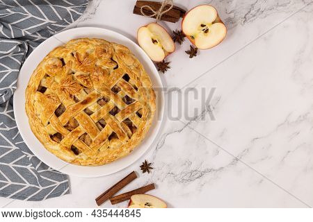 Apple Pie And Spices Cinnamon And Star Anise And Red Apples. Top View