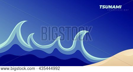 Vector Illustration Of Tsunami Design. World Tsunami Awareness Day Background Template.