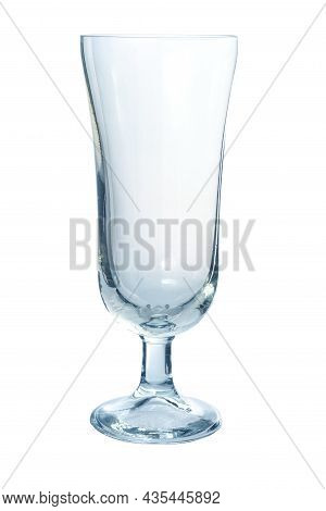 An Empty Clear Glass Wineglass, Champagne Flute Isolated On White Background