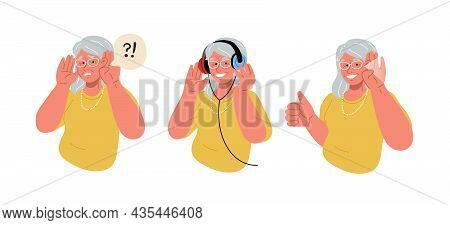 The Elderly Woman Is Deaf.old Lady Does A Hearing Test.vector Flat Illustration.