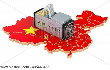 Mining In China, Concept. Asic Miner With Chinese Map. 3d Rendering Isolated On White Background
