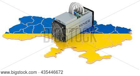 Mining In Ukraine, Concept. Asic Miner With Ukrainian Map, 3d Rendering Isolated On White Background