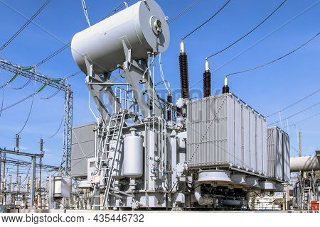 Large Industrial Power Transformer For High Voltage Substation. Power Engineering.