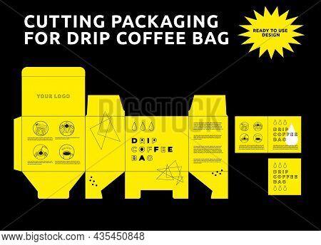 Design Template Of Coffee Packaging. Vintage Cutting Packaging For Drip Coffee Bag, Design Template