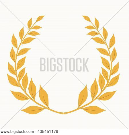 Laurel Branch As A Symbol Of Glory And Victory Vector Illustration With Gold Color In Hand Drawn Sty