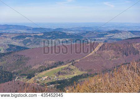 Aerial View Of Mosorny Gron Summit In And Zawoja Village In Beskid Zywiecki Mountains