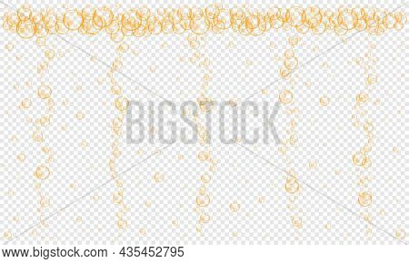 Golden Bubbles Stream On Transparent Background. Fizzy Carbonated Drink, Champagne, Seltzer, Beer, S