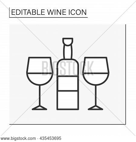 Romantic Atmosphere Line Icon. Wine Bottle And Two Glasses. Tasting And Consumption Of Alcohol. Wine