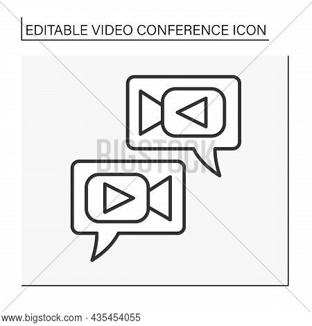 Communication Line Icon. Exchange Video Messages. Dialogue. Global Network. Video Conference Concept