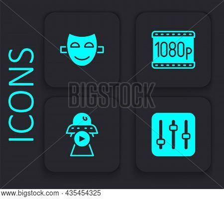 Set Sound Mixer Controller, Comedy Theatrical Mask, Full Hd 1080p And Science Fiction Icon. Black Sq