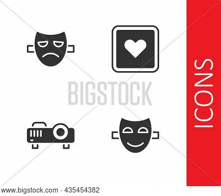 Set Comedy Theatrical Mask, Drama, Movie, Film, Media Projector And Like Heart Icon. Vector