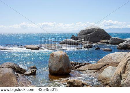 Seascape View Of False Bay Coastline In Cape Town..