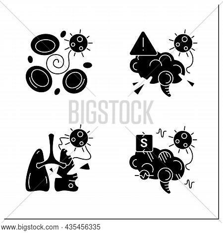 Corona Virus Effects Glyph Icon Set. Covid Long Term System Health Damage. Neurological Disorder, Bl