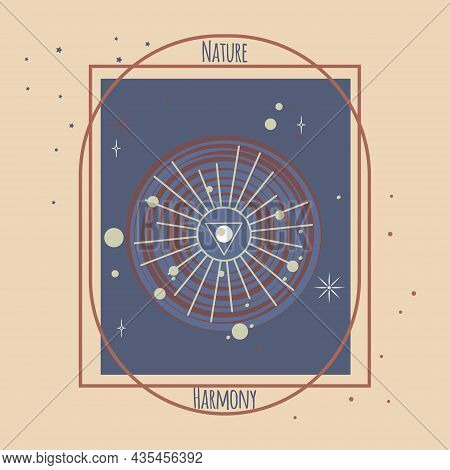 Solar System And Planets, Stars, Third Eye In Center. Frame For Logo, Text Nature, Harmony. Vector I
