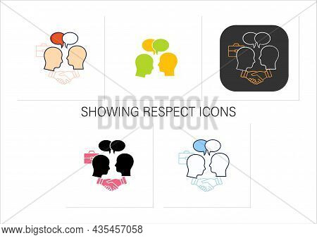 Negotiation Icons Set. Dispute Resolution.compromising. Successfully Handles, Resolves Issues Sensib