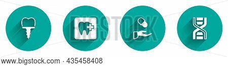 Set Dental Implant, Clinic Location, Medical Prescription And Dna Symbol Icon With Long Shadow. Vect