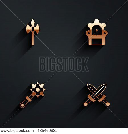 Set Medieval Axe, Throne, Mace With Spikes And Crossed Medieval Sword Icon With Long Shadow. Vector