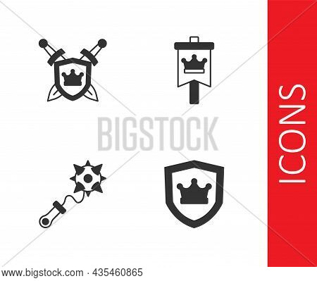 Set Shield With Crown, Swords, Mace Spikes And Medieval Flag Icon. Vector