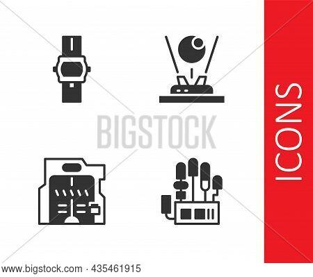 Set Mechanical Robot Hand, Wrist Watch, Futuristic Sliding Doors And Hologram Icon. Vector